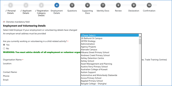 Text and search field to use when finding a location for an employer or organisation in the RWVP online registration system